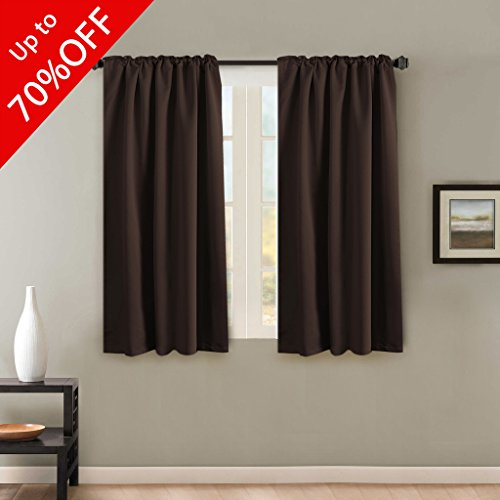 H.VERSAILTEX Room Darkening Thermal Insulating Blackout Curtain Set Noise Reducing Rod Pocket/Back Tab Curtains Chocolate Brown 52