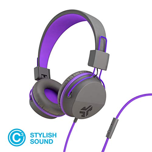 JLab Audio Neon Folding On-Ear Headphones | Wired Headphones | 13 Hour Bluetooth Playtime | Noise Isolation | 40mm Neodymium Drivers | C3 Sound (Crystal Clear Clarity) | Graphite / Purple -