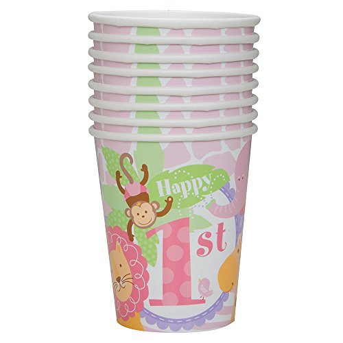 (9oz Pink Safari First Birthday Party Cups,)