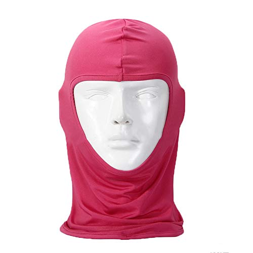 The sales leader motorcycle mask cycling ski neck protection open Balaclava full mask Ultra thin breathable windproof (Rose red)
