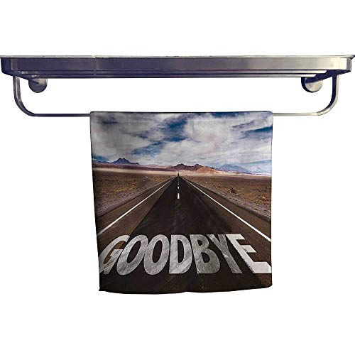 Leigh home Cotton Beach Towel,Party Goodbye Written on Asphalt Road Highway City Urban Words Brown Blue,Absorbent, Machine Washable, Towel W 20