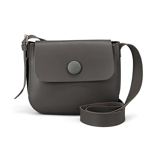 ndbag Shoulder Bag Adjustable Strap Zipper Flap Top Purse (Gray) ()