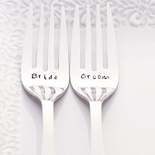 Bride/Groom - Fancy Handle Stainless Steel Stamped Fork Set, Stamped Wedding Silverware for Wedding Cake