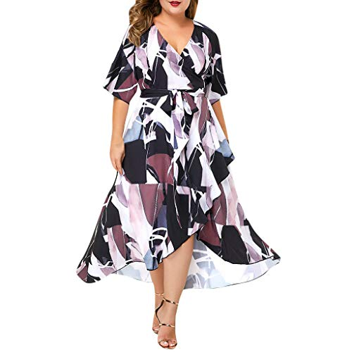 Women Ruffle Wrap Maxi Dress - Ladies Fashion Geometry Colorful Print Asymmetrical High Low Maxi Dresses - Elegant Belted Empire Waist Party Clothes (XXL, White) ()