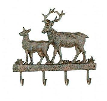 - Cast Iron Deer Wall Key Rack Holder 4 Hooks Coat Hook Home Decor