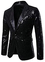 Men Sequin One Button Black S Jacket
