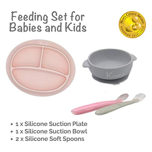 Kcuina 4 Pieces Baby Feeding Set- Includes 1 Strong Suction Divided Plate, 1 Strong Suction Bowl, and 2 Soft Spoon Set- Food Grade & FDA Approved Silicone (Pink/Gray)