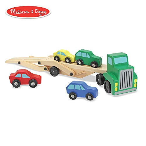 Melissa & Doug Car Carrier Truck & Cars Wooden Toy Set (Compatible with Wooden Train Tracks, Quality Wood Construction, 13.8