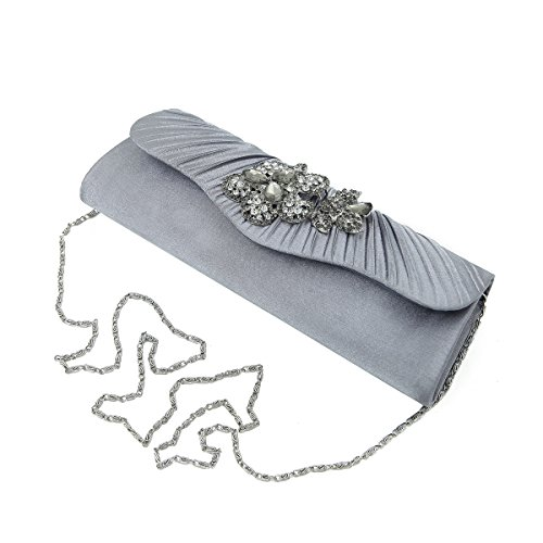 Pleated Crystal Evening Flap Bag Elegant Grey Diff Avail Floral Satin Colors Clutch x4FASnSw