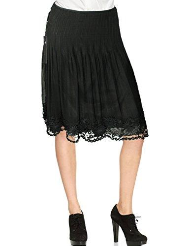 Elie Tahari Silk A-Line Floral Lace Hem Gracie Skirt, Black (0)