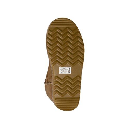 SKUTARI Wildleder Damen Frauen Winter Boots | Warm Gefüttert | Schlupf-Stiefel mit Stabiler Sohle | Schleife Pailletten Glitzer Meliert Schuhe Khaki1