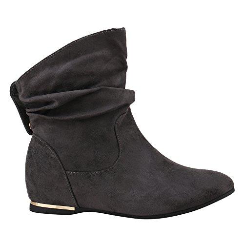Stiefelparadies Damen Klassische Stiefel Schlupfstiefel Leder-Optik Bequeme Stiefeletten Boots Leicht Gefütterte Schuhe Flandell Grau Velours