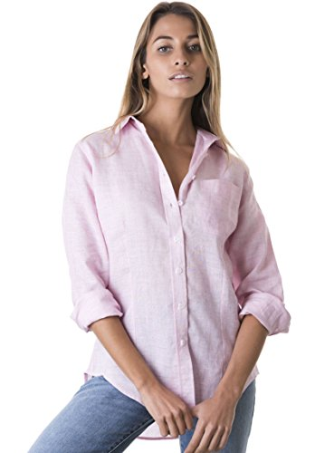 CAMIXA Women's 100% Linen Casual Shirt Slim Fit Button-Down Airy Basic Blouse S Pink ()