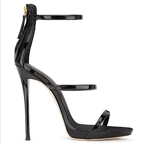 Eastlion Women's 1 Straps Stiletto Heel Sandals Peep Toe High Heel Shoes Black Reo8hW