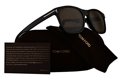 Tom Ford FT0595F Eric-02 Sunglasses Shiny Black w/Brown Lens 01J TF595 - Ford Eyewear Tom Collection