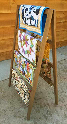 Stand Rack Quilt Blanket (OFTO Handmade Quilt Rack - 4-Tier Quilt Ladder Holds 7 Blankets or Afghans for Vender Displays - Great for Pillows, Shams and a Comforter Folds Flat for Storage, Non-Toxic Finish. Craft Show booths.)
