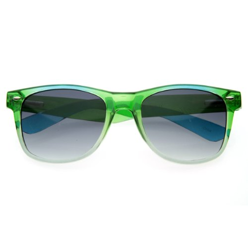 zeroUV - Colorful Gradient Bright Jelly Dual Candy Horn Rimmed Sunglasses - Bright Green Sunglasses