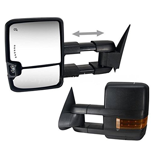 Towing Mirrors for 03-06 Chevy Silverado Power Heated LED Turn Signals Backup