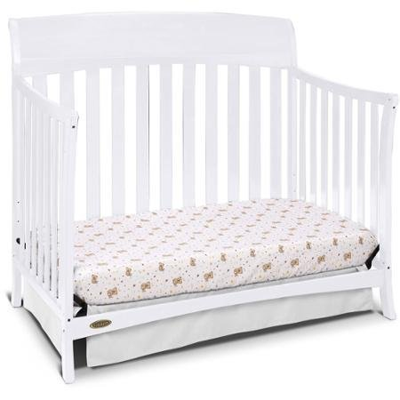 Convertible Furniture Crib for Baby, Graco Lennon 4-in-1 Convertible Crib, White 3-Position Adjustable Mattress Heights to Accommodate your Baby's Growth