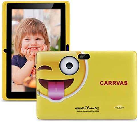 CARRVAS Kids Tablet, Educational Learning WiFi Tablet with Integrated Protective Case Parental Control, 7 Inches HD Screen, Dual Camera, 16GB Expandable Storage, Bluetooth, Android 8.1 OS