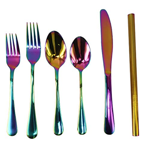 Flatware Set Colorful Stainless Steel Silverware Dinnerware Set 6-Piece, Cutlery Set, Smooth Surface and Mirror Polish, Fit for Home Kitchen Hotel Restaurant Tableware Set, Dishwasher Safe (Rainbow)