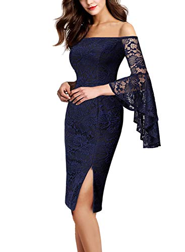 Dress Lace Flounce (VFSHOW Womens Floral Lace Off Shoulder Bell Sleeve Cocktail Sheath Dress 1807 BLU XL)