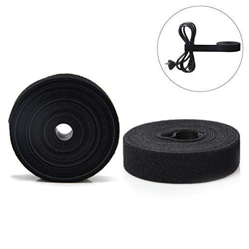 Patu Reusable Multi-Purpose Fastening Tape Cable Ties - 2 Rolls 5 Yards x 1 Inch Width Hook and Loop Cord Management Wire Organizer Straps, Black