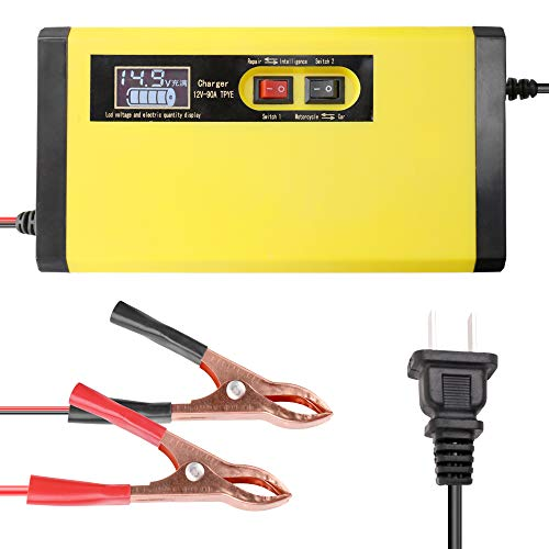 Carrfan 12V 8A Full Automatic Car Battery Charger Intelligent Fast Power Charging Pulse Repair Chargers Wet Dry Lead Acid Battery-Chargers with Digital LCD Display