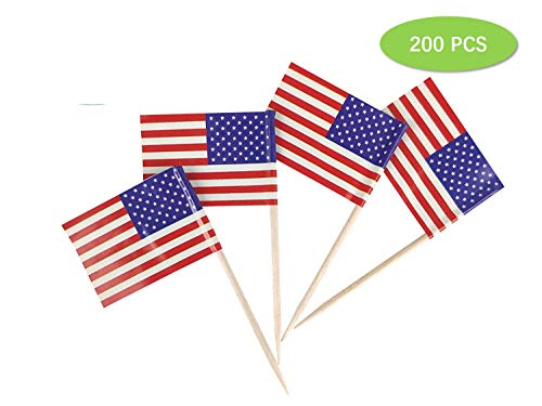 (200 Pieces American/ Checkered Race Flag Picks Picks Flag Toothpick Flag Toothpicks Cupcake Toppers Cocktail Sticks Cake Toppers Decorations (Style 1))