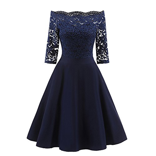 iLUGU Sexy Knee-Length Dress For Women Half Sleeve Off Shoulder Lace Tops A-Line Prom Cocktail ()