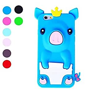 LCJ 3D Design Cute Pig Pattern Soft Case for iPhone 6 (Assorted Colors) , Dark Blue