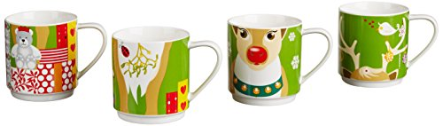 - Maxwell & Williams Kris Kringle 14.5-oz Reindeer Mug - Set of 4 - Gift Boxed