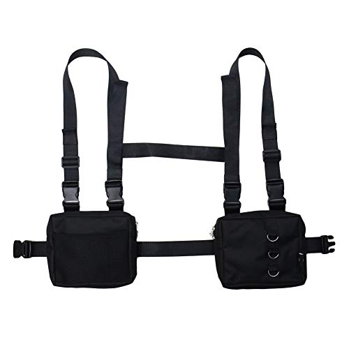 NEDVI Men Women Fashion Chest Front Bag Hip Hop Streetwear Functional Waist Packs Bag Adjustable Tactical Shoulder Bags Chest Rig Bag,Black Bag