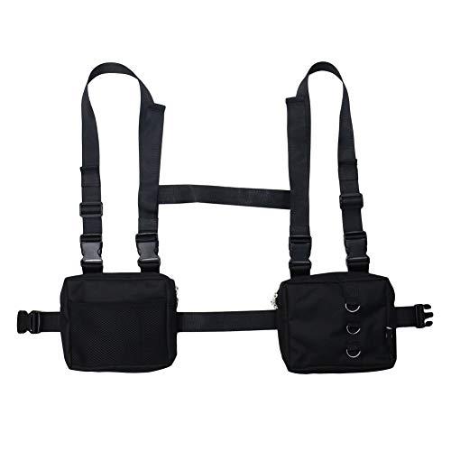 NEDVI Men Women Fashion Chest Front Bag Hip Hop Streetwear Functional Waist Packs Bag Adjustable Tactical Shoulder Bags Chest Rig Bag,Black Bag ()