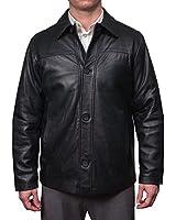 Perry Ellis Men's Lamb Skin Leather Button Front Jacket