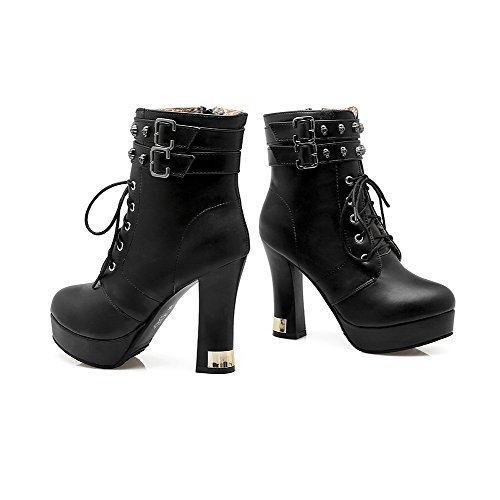 Black Boots AgooLar Solid Women's Heels High Zipper Top Low xC871qnwC