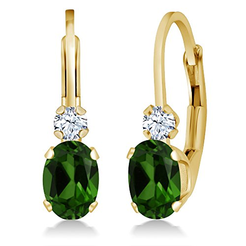 - Gem Stone King 0.98 Ct Green Chrome Diopside White Created Sapphire 14K Yellow Gold Earrings