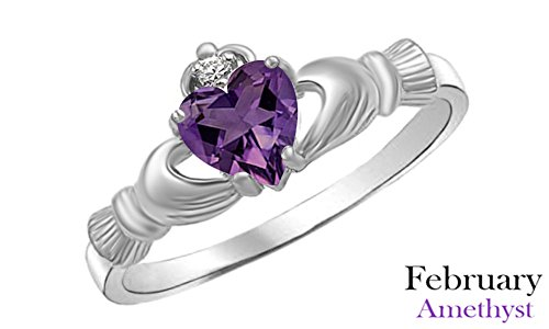 Simulated Amethyst & White Cubic Zirconia Claddagh Ring in 14k White Gold Over Sterling Silver