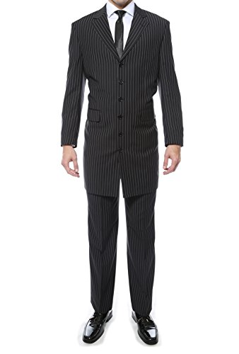 38R New York Mens Black Regular Fit Pin Stripe 2pc Zoot (Zoot Suit Pants)