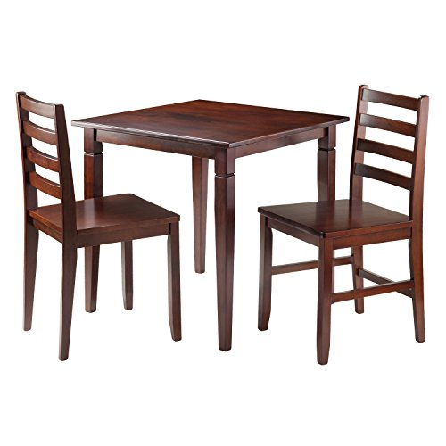 Winsome 3-Piece Kingsgate Dinning Table with 2 Hamilton Ladder Back Chairs, Brown