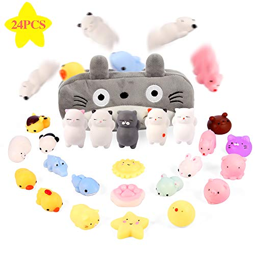 Gooidea Mochi Squishy Toys 丨 24pcs Mini Squishies Toy Gifts for Teen Girls and Boys丨 Kawaii Animals Squishies Easter Egg Fillers Easter Basket Stuffers Cat Panda Squeeze Toys Set with Cartoon Bag