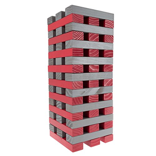 Hey!Play! (HEYP0) 80-TT0075OS Nontraditional Giant Wooden Blocks Tower Stacking Game (Gray), (Heys Edge Case)