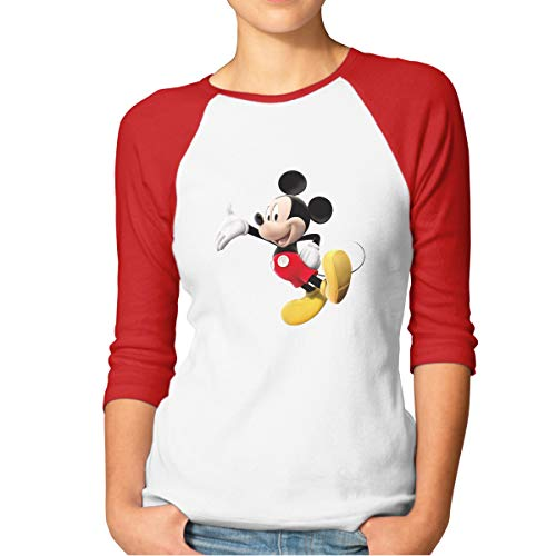 Aiguan Women's Cartoon Mickey Mouse 3/4 Sleeve Baseball Tee Raglan T-Shirts Red