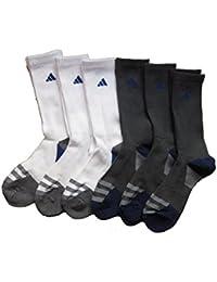 Men's Athletic Crew Socks (6-Pack) (White/Charcoal (Royal Blue Logo))