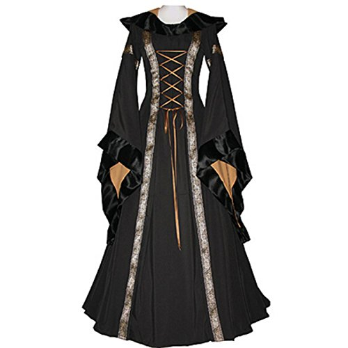 Women's Medieval Dress Renaissance Costume Gown Hooded Floor Length Women Cosplay Dresses Retro Gown (M, black) (Hooded Renaissance Dress)