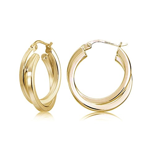 Gold Tone over Sterling Silver Square-Tube Double Twisted 15mm Round Hoop - Gold Hoop Round Double
