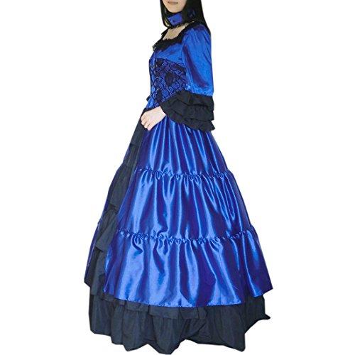 Choker Rock Partiss Ballkleid Koenigsblau Damen Maskerade Lolita Prom Gothic Hals Kleid Square Wunderschoen Kleid Blaues Abendleider Kurzarm Tqt1x4qA