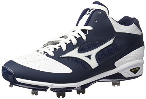 Mizuno Men's Dominant IC MID Baseball Shoe, Navy White, 12.5 D US