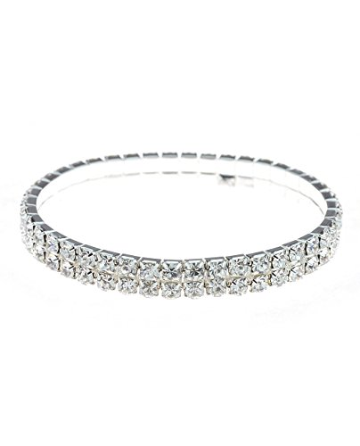 Clear Rhinestone Pave 2 Row Stretch Bracelet in Silver-Tone Two Row Pave