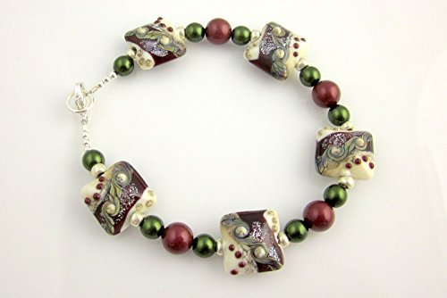 Burgundy and Green Beaded Lampwork Bracelet